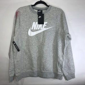 Nike NWT Rally Big Logo Crew Neck Gray Sweatshirt